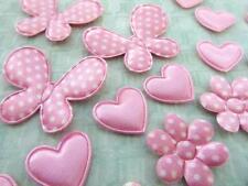 60 Butterfly/Flower/Heart Mix Set Pink Satin Polka Dot Applique/trim/felt H354
