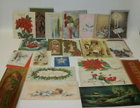 Estate Lot of Vintage Christmas Greeting Cards - Animals Glittered Candles ++
