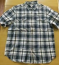 Carhartt Mens Blue Plaid Short Sleeve Button Down Shirt Size Large EUC