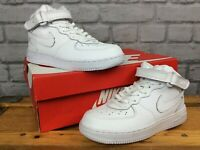 NIKE UK 2.5 EU 35 AIR FORCE 1 WHITE MID LEATHER TRAINERS BOYS GIRLS CHILDRENS LG