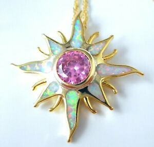 GORGEOUS WHITE FIRE OPAL  GOLD PLATED STAR  PENDANT