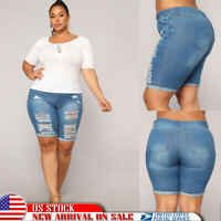 Plus Size Women Ripped  Slim Capri Jeans Shorts Skinny Denim Shorts Casual Pants