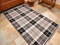 Small Large Grey Tartan Long Hall Runner Kitchen Floor Rugs Anti-Slip Back Mats
