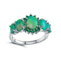 Women Green Fire Opal & Emerald Jewelry Charm Gems Silver Ring Size 7/8/9
