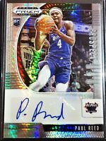 PAUL REED 2020-21 HYPER Prizm Draft Picks AUTO Rookie RC 76ers Autograph