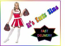 Ladies Cheerleader Fancy Dress Costume & Pom Poms Womens Red Outfit by Smiffys S