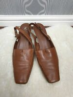 Clarks Tan Brown Leather Square Toe Block Heels Sling Back Shoes Size 7.5 UK