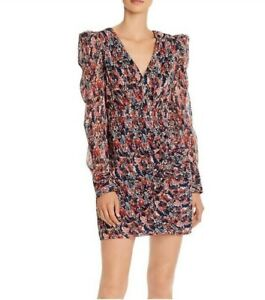 Aqua Womens Sz M Feather Printed Puff Sleeves V-neck Ruched Front Dress $128