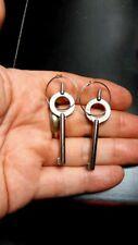 Real Handcuff Key Sterling Silver Wire Hoop Earrings