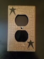 Primitive Crackle Tan & Black Star Outlet Cover Plate ~ Country Decor