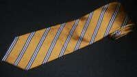 Brooks Brothers Tie Gold White Stripe Woven Luxury Designer Silk Jacquard Mens