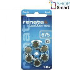 6 RENATA HEARING AID BATTERIES SIZE 675 PR44 1.45V ZINC AIR NO MERCURY NEW