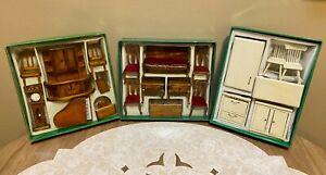 Vintage Dollhouse Furniture Wooden Miniature LOT 21 pc Piano Clock Kitchen 1:12