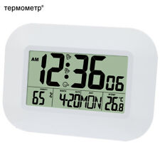 LCD Digital Wall Alarm Clock with Temperature Thermometer Humidity Hygrometer
