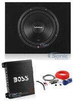 "Rockford Fosgate 12"" 500W Subwoofer + Sealed Sub Box + Boss Amplifier + Amp Kit"