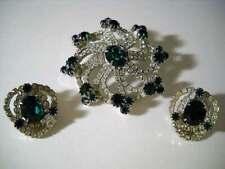 Vintage Kramer Demi Parure Emerald Green Brooch Pin & Earrings Starburst Set