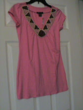 NWT AMERICAN DREAM V NECK PINK SHIRT WITH WOODEN BEADED TRIM