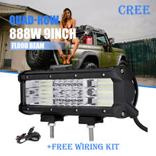 "9inch 888W Quad-Row CREE LED Work Light Bar Offroad JEEP FORD ATV PICKUP 12"" 10"""
