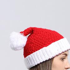 Fashion Adults Women Red Christmas Santa Knitted Cap Soft Wool Hat Xmas Gift AU