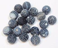Achat Perlen SCHWARZ WEIß 10mm Edelstein Matt Kugel New Gem Agate Beads R238