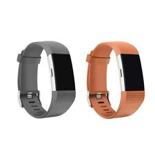 2 Pack Charge 2 Replacement Silicone Bands w/ Metal Buckle Coffee and Gray LG