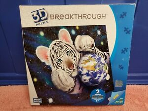 "Mega Puzzles Breakthrough 3D Puzzle ""A HUG FOR MOTHER EARTH"" White Tiger Cub NIB"