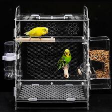 Pet Acrylic Parakeet Budgie Cockatiel Breeding Nesting Bird Cage Box