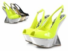 "Neon Color Peep Toe Slingback Platform Pump Sandals Women 6"" High Heels Size 6"