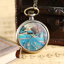 Vintage Colorful Painted Scenery Quartz Pocket Watches Women Men Necklace Chain