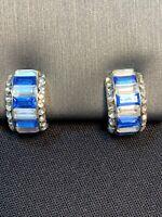 Vintage Blue white crystal half Hoop Post Pierced Earring Set