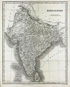 Antique Map of  HINDOOSTAN or India c1831 by Scott engraved original