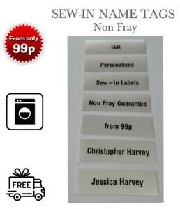 New Printed Non Fray Sew-in Name Tags for School Uniform Name Labels Name Tapes