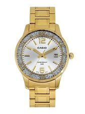 CASIO SILVER DIAL DATE GOLD-TONE STAINLESS STEEL LADIES WATCH LTP-1359G-7AV NEW