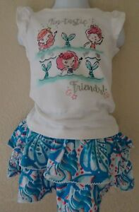 GYMBOREE 6-12 12-18 18-24 2T MERMAID COVE SET OUTFIT SWING SKIRT SKORT TOP TEE