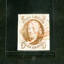 US Stamps # 1 ample/huge margins w/ crisp red date cancel 1847