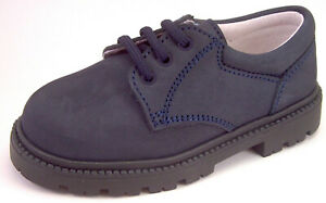 DE OSU/FARO - Boys Navy Blue Nubuck Leather School Dress Shoes -European US 7-10