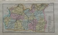 1808 Surrey Original Antique Hand Coloured County Map 212 Years Old