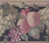 Wallpaper Border Classic Fruit and Floral Gold Black Green Purple Peach