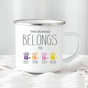 Personalised Granddad Hand Print Tin Camping Mug/Cup Tea Gift Name Xmas Present