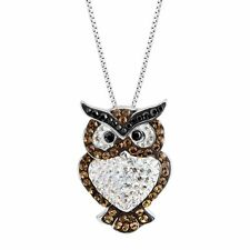 Crystaluxe Owl Pendant with Swarovski Crystals in Sterling Silver