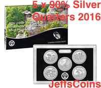 2016 S America the Beautiful QUARTER 90% Silver Proof Set US Mint 5 AQ + Box COA
