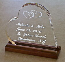 Wedding Cake Topper Personalized Engraved Bride Heart  Groom