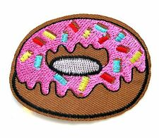 Donut Iron On Patch- Doughnut Food Novelty Funny Embroidered Applique Badge