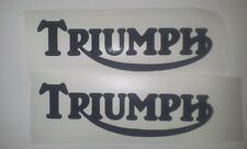 Triumph Tank vinyl cut sticker / decal pair, 150mm x 48mm Black.