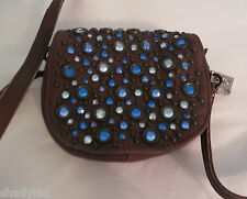 KIPPYS PURSE BELT POUCH BROWN BLUE Crystals  Cross Body BLING Dance Cowgirl