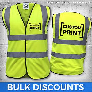 Hi- Viz Safety Vests Custom Printed Personalised Wholesale High Vis Jacket EN471