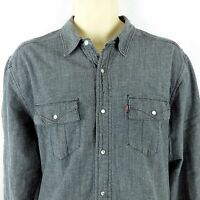 Levis Mens Large Western Shirt Pearl Snap Gray Denim Flannel Lined Shirt Red Tab