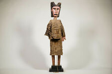 """Bozo Costumed African Puppet on Custom Stand 34.5"""" - Mali"""