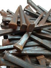 "50 +  3-1/2"" Nails Decorative Antique Wrought Square Head Patina Vintage"