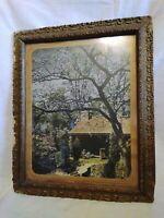 Antique wood gesso ornate framed art print log cabin home #505 Peaceful Haven
